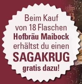 Hofbräu München - Maibock 18 Flaschen + Saga Krug